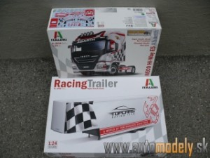 Italieri - Iveco Hi-Way E5 Abarth + Racing Trailer Set - 1:24 (Stavebnica)