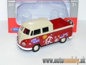 Welly - Volkswagen T1 Double Cabin ( Naťahovačka / Pull Back ) - 1:32