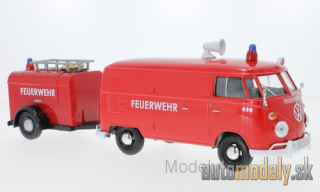 Motormax - Volkswagen VW T1 box wagon, red, fire brigade, with Anhänger - 1:24