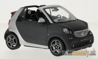 Norev - Smart fortwo Convertible (A453), matt-dunkelgrau/silver, Softtop lays by - 1:18