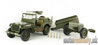 Premium X - Jeep Willys MB, olive greeen, with Transportanhänger and 37-mm-Panzerabwehrgeschütz M3, 1943 - 1:8