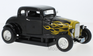 Motormax - Ford Five Window Coupe, black/Decorated, 1932 - 1:18