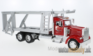 Welly - Kenworth W900, red/silver, catransporter - 1:32
