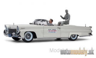 Sun Star - Lincoln Continental Mk III Convertible, metallic-light grey, John F.Kennedy in Oregon, 1960, with 2 figures, 1958 - 1:18