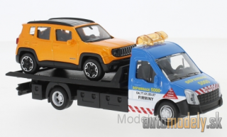 Bburago - Iveco Daily transport, with Jeep Renegade - 1:43