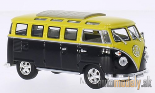 Lucky Die Cast - VW T1 samba, black/yellow, folding roof closed, with Chromstoßstangen and -wheel rim, 1962 - 1:43
