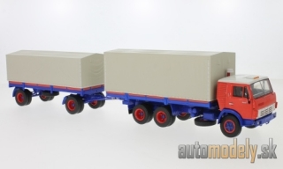 Premium ClassiXXs - Kamaz 53212, orange/blue, with Anhänger - 1:43