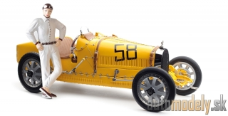 CMC - Bugatti Type 35 Grand Prix, Yellow Livery with a Female Racer Figurine - 1:18