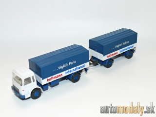 "Wiking 424/6 - MAN 12.170 Pritschen-anhänger ""Hellmann International"" - HO 1:87"
